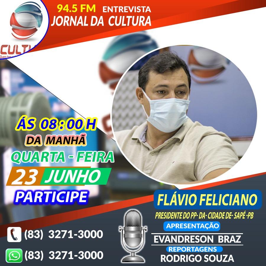 Presidente do PP de Sapé, Flavinho Feliciano, será entrevistado na Rádio Cultura em Guarabira na quarta-feira (23)